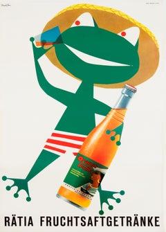 """""""Ratia Fruchtsaftgertranke"""" Original Vintage Beverage Poster"""