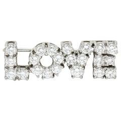 Donald Claflin Tiffany & Co. 2.16 Carat Diamond Platinum Love Brooch
