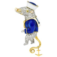 Donald Claflin Tiffany & Co. Diamond Enamel Platinum Gold Sailor Mouse Brooch