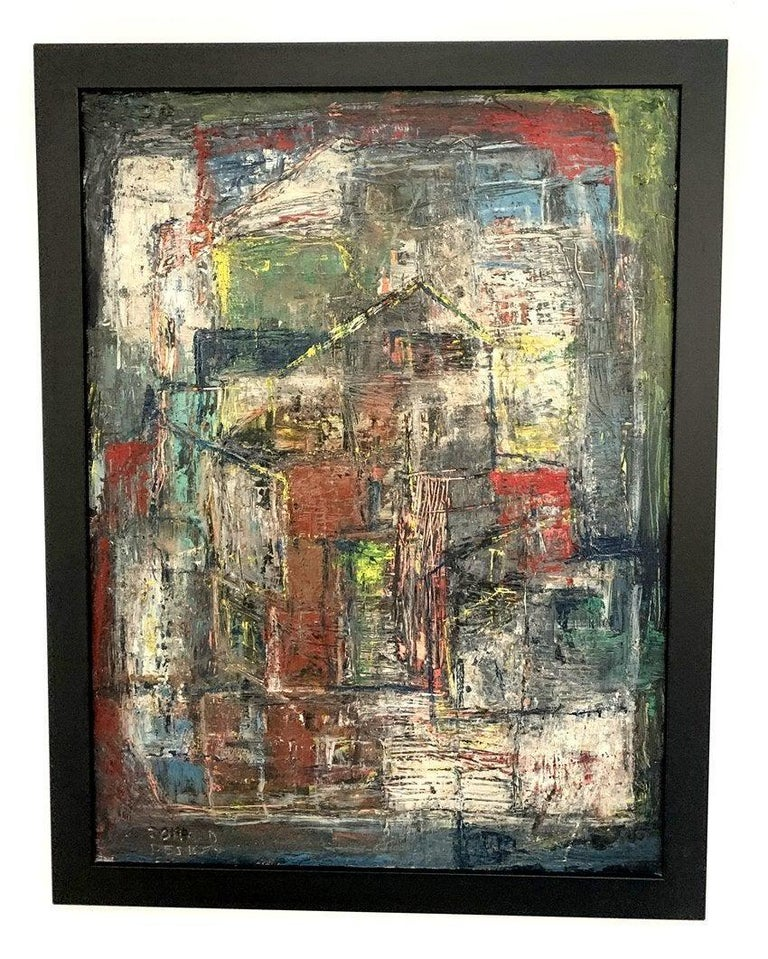 Wonderful abstract painting by Donald Deskey from the Deskey Estate in New York. The piece is in excellent condition framed in a thin white wooden frame which appears to be original to the painting. The piece is signed and it came out from the