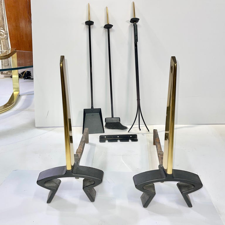 Mid-Century Modern Donald Deskey Andirons and Wall Mounted Fireplace Tools by Bennett For Sale