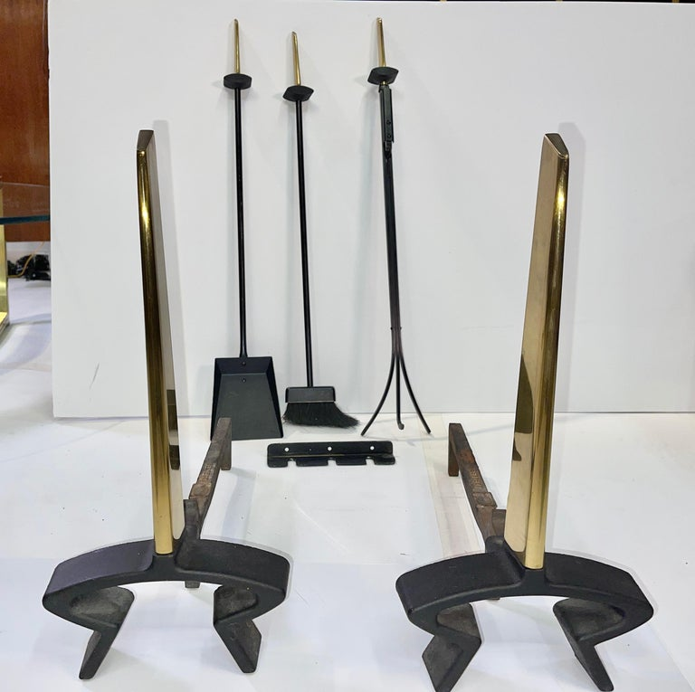 American Donald Deskey Andirons and Wall Mounted Fireplace Tools by Bennett For Sale