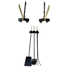 Donald Deskey Andirons and Wall Mounted Fireplace Tools by Bennett