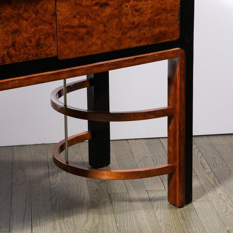 Donald Deskey Art Deco Black Lacquer, Burled Carpathian Elm & Walnut Sideboard For Sale 5