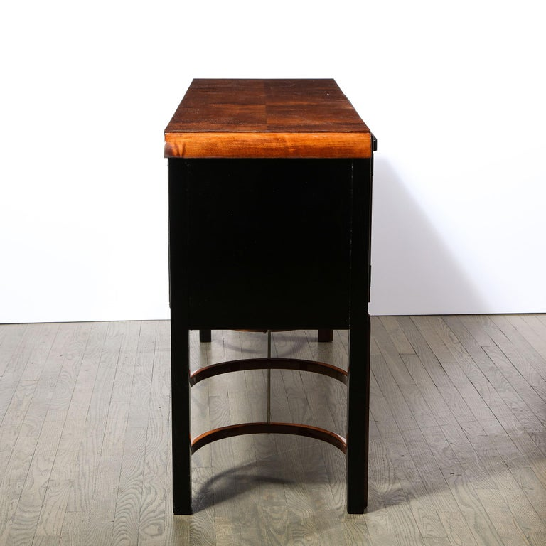 Donald Deskey Art Deco Black Lacquer, Burled Carpathian Elm & Walnut Sideboard For Sale 6