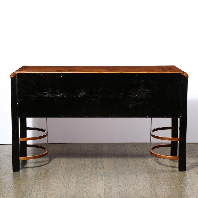 Donald Deskey Art Deco Black Lacquer, Burled Carpathian Elm & Walnut Sideboard For Sale 7