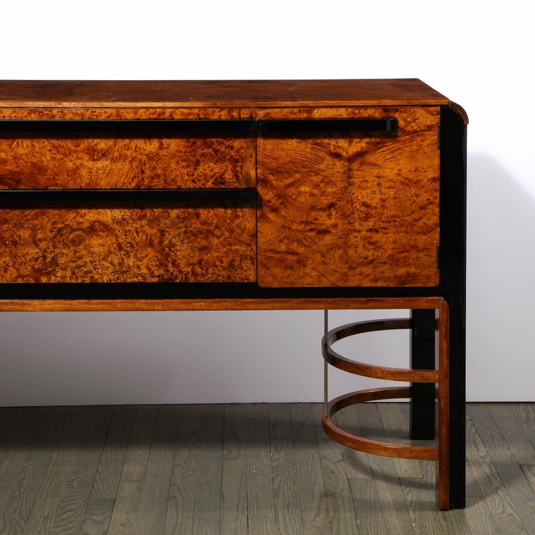 American Donald Deskey Art Deco Black Lacquer, Burled Carpathian Elm & Walnut Sideboard For Sale