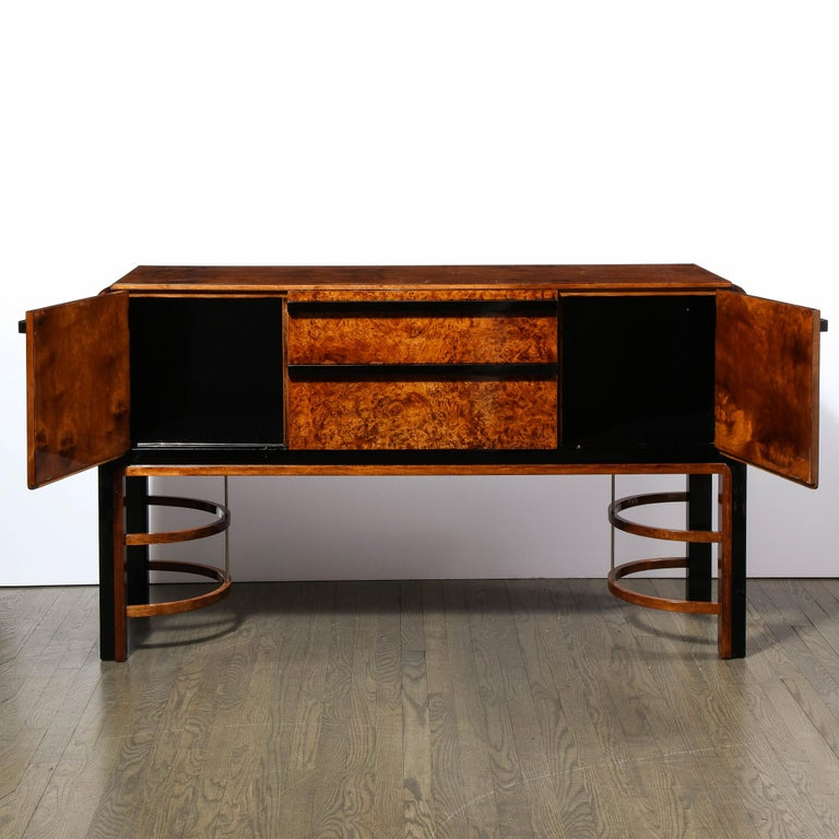 Donald Deskey Art Deco Black Lacquer, Burled Carpathian Elm & Walnut Sideboard In Excellent Condition For Sale In New York, NY