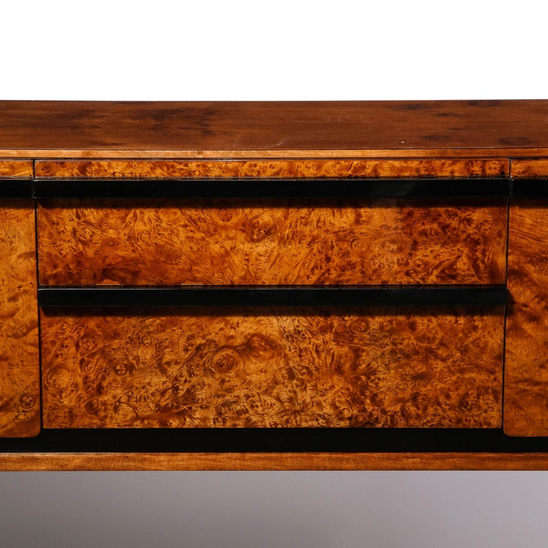 Mid-20th Century Donald Deskey Art Deco Black Lacquer, Burled Carpathian Elm & Walnut Sideboard For Sale