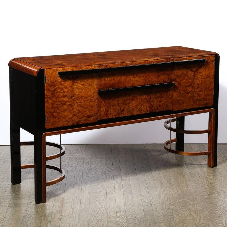 Donald Deskey Art Deco Black Lacquer, Burled Carpathian Elm & Walnut Sideboard For Sale 1