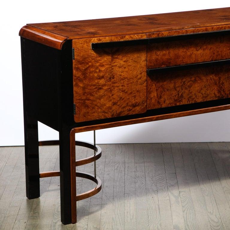 Donald Deskey Art Deco Black Lacquer, Burled Carpathian Elm & Walnut Sideboard For Sale 2