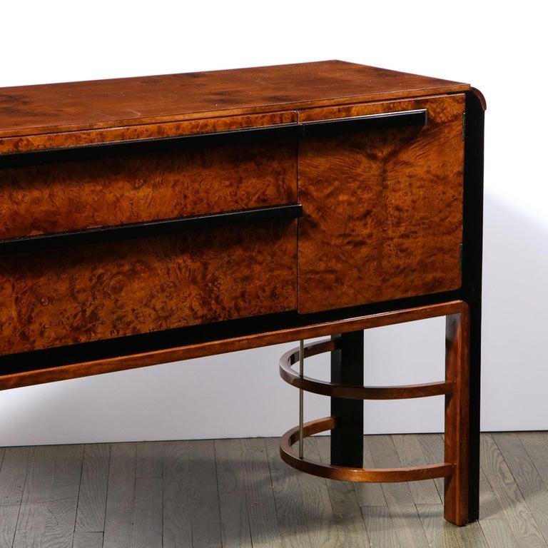 Donald Deskey Art Deco Black Lacquer, Burled Carpathian Elm & Walnut Sideboard For Sale 3