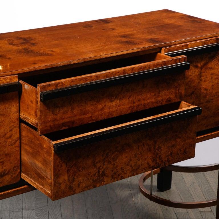 Donald Deskey Art Deco Black Lacquer, Burled Carpathian Elm & Walnut Sideboard For Sale 4