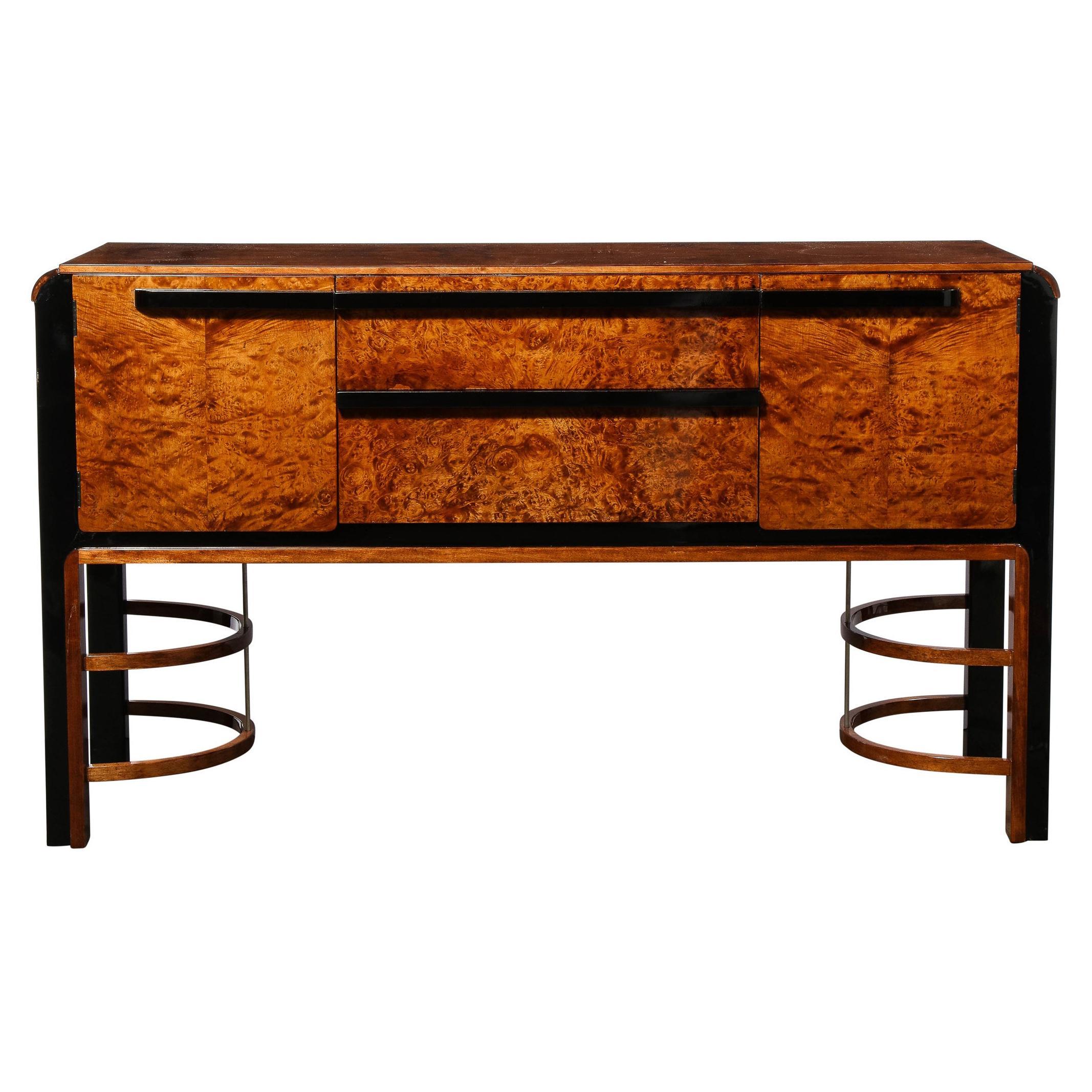Donald Deskey Art Deco Black Lacquer, Burled Carpathian Elm & Walnut Sideboard