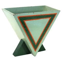 Donald Deskey Art Deco Geometric Painted Paper Basket
