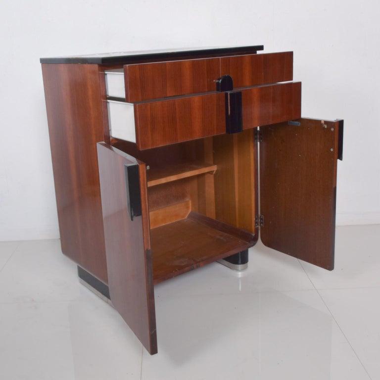 DONALD DESKEY  Dazzling Art Deco Industrial Design Cabinets Walnut & Black Gloss For Sale 3