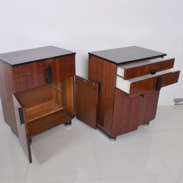 American DONALD DESKEY  Dazzling Art Deco Industrial Design Cabinets Walnut & Black Gloss For Sale