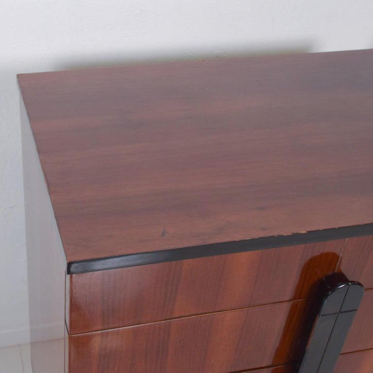 Appliqué DONALD DESKEY  Dazzling Art Deco Industrial Design Cabinets Walnut & Black Gloss For Sale