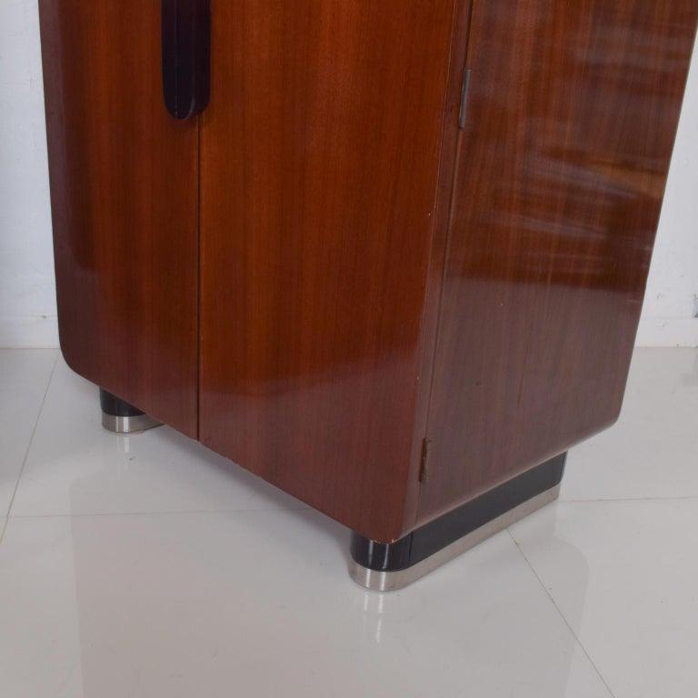 Chrome DONALD DESKEY  Dazzling Art Deco Industrial Design Cabinets Walnut & Black Gloss For Sale