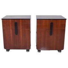 DONALD DESKEY Art Deco Moderne Walnut Black Glossy Cabinets Set by Hamilton Mfg