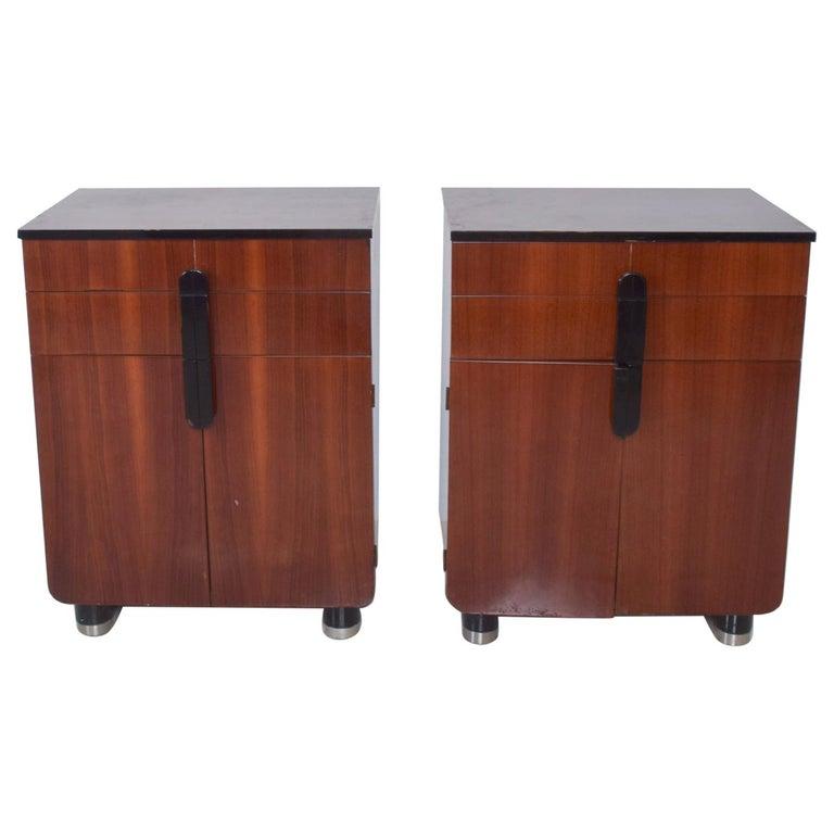 DONALD DESKEY  Dazzling Art Deco Industrial Design Cabinets Walnut & Black Gloss For Sale