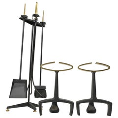 Donald Deskey Fireplace Andirons Tool Set