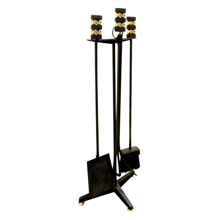 Donald Deskey Fireplace Tool Set In Wrought Iron And Brass