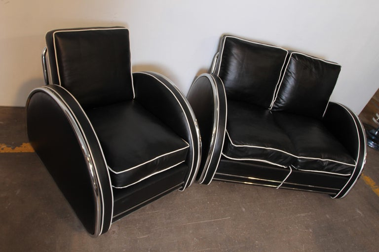 Donald Deskey Machine Age Art Deco Royalchrome Settee and Chair Living Room Set For Sale 4