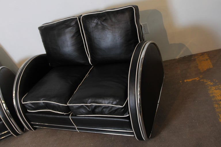 Donald Deskey Machine Age Art Deco Royalchrome Settee and Chair Living Room Set For Sale 6