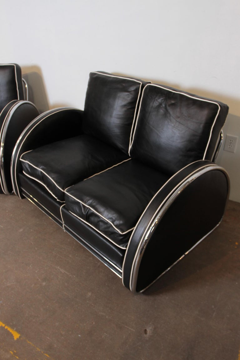 Donald Deskey Machine Age Art Deco Royalchrome Settee and Chair Living Room Set For Sale 7