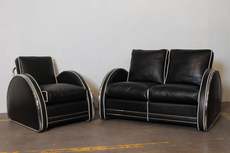 American Donald Deskey Machine Age Art Deco Royalchrome Settee and Chair Living Room Set For Sale