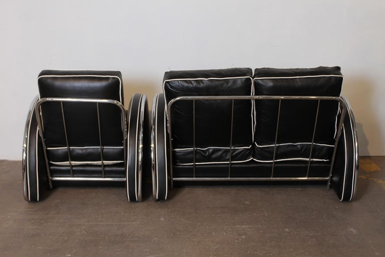 Chrome Donald Deskey Machine Age Art Deco Royalchrome Settee and Chair Living Room Set For Sale