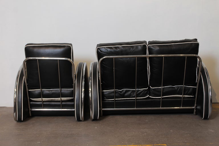 Donald Deskey Machine Age Art Deco Royalchrome Settee and Chair Living Room Set For Sale 1