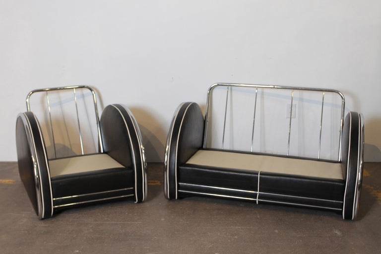 Donald Deskey Machine Age Art Deco Royalchrome Settee and Chair Living Room Set For Sale 2