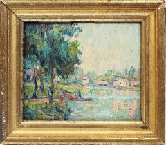 Antique American Impressionist River Boat Signed Original Landscape Oil Painting