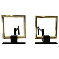 Donald Deskey Style Polished Brass and Steel Art Deco Fireplace Andirons