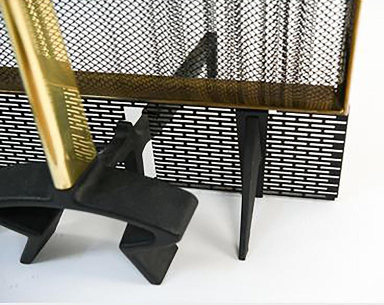 Mid-20th Century Donald Desky Brass and Iron Modernist Fireplace Set For Sale