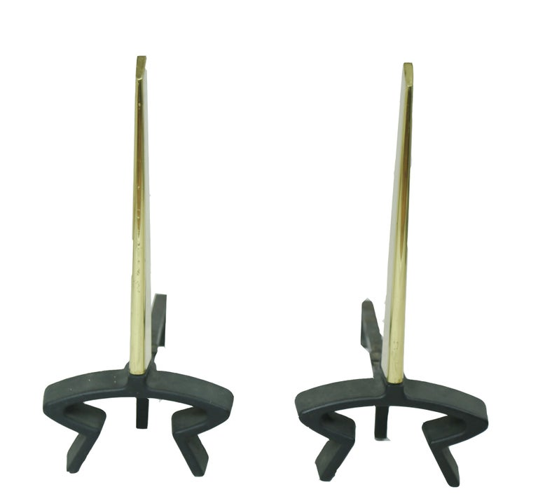 Donald Desky Brass and Iron Modernist Fireplace Set For Sale 2