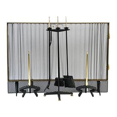 Donald Desky Brass and Iron Modernist Fireplace Set