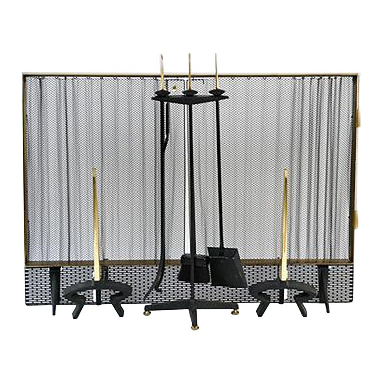 Donald Desky Brass and Iron Modernist Fireplace Set For Sale