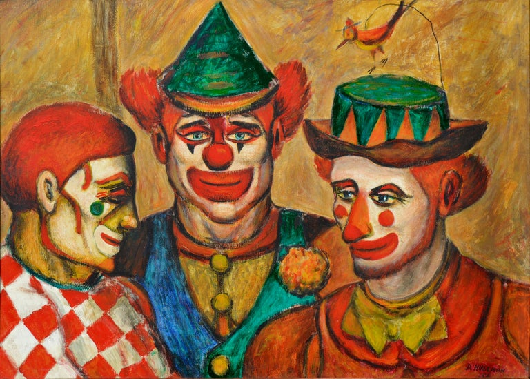 Mid-Century Three Clowns by Jazz Man Don Hirleman - Painting by Donald (Don) Hirleman