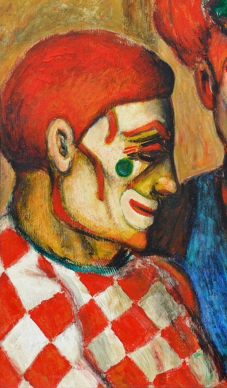 Mid-Century Three Clowns by Jazz Man Don Hirleman - American Impressionist Painting by Donald (Don) Hirleman