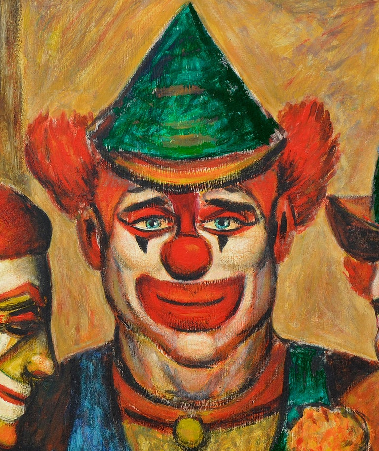 Mid-Century Three Clowns by Jazz Man Don Hirleman - Brown Portrait Painting by Donald (Don) Hirleman