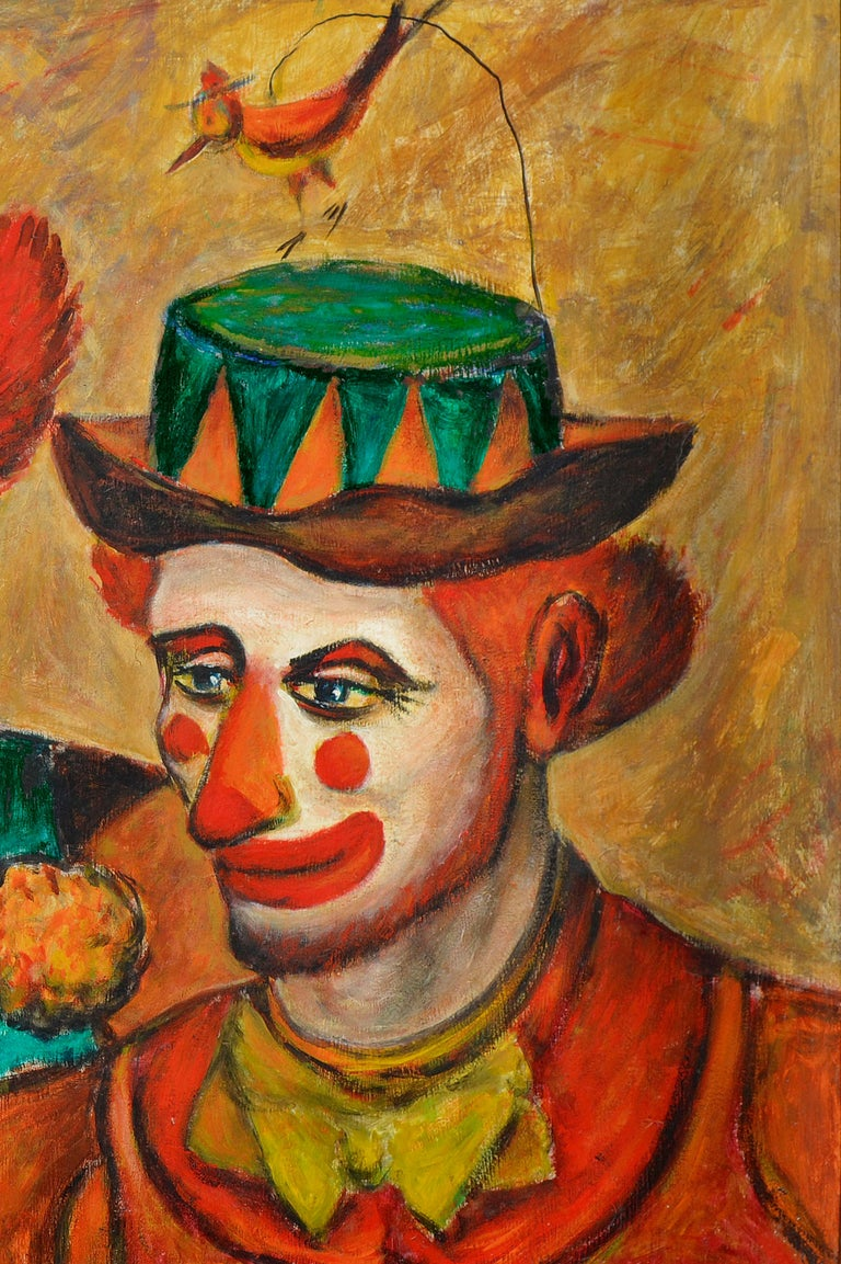 Mid-century portrait of three clowns by artist and Jazz Trumpet player, Donald (Don) Hirleman (American, 1911-2007). Signed and dated lower right: