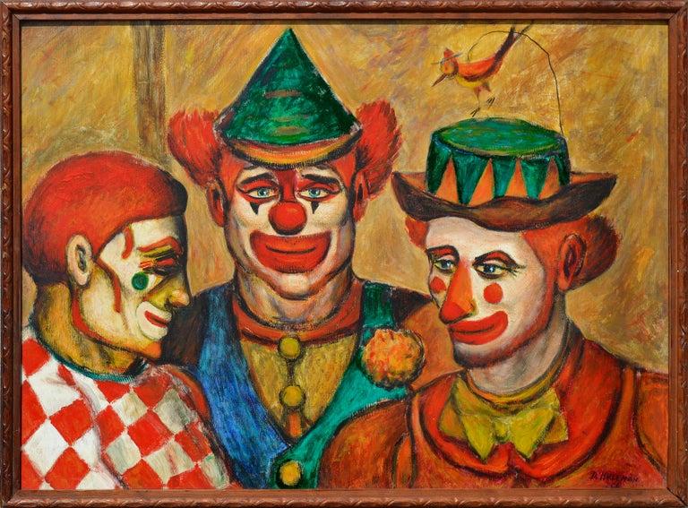 Donald (Don) Hirleman Portrait Painting - Mid-Century Three Clowns by Jazz Man Don Hirleman