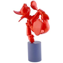 In Stock in Los Angeles, Donald Duck Monochrome Red Pop Sculpture Figurine