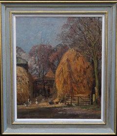 Haystack - British twenties Impressionist oil painting farmyard landscape