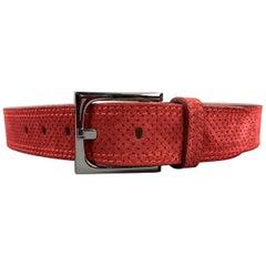 DONALD J PLINER Franco Perforated Size 30 Red Suede Belt