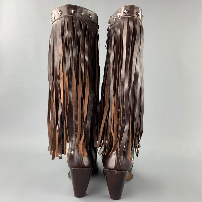 Black DONALD J PLINER Size 10 Brown Leather Studded Fringe Pointed Toe Boots For Sale