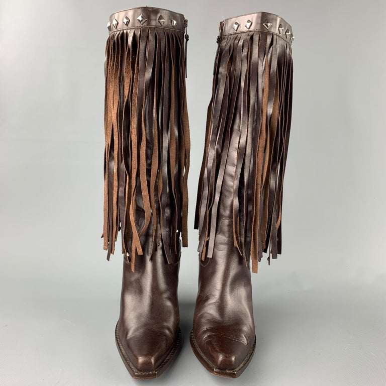DONALD J PLINER Size 10 Brown Leather Studded Fringe Pointed Toe Boots In Good Condition For Sale In San Francisco, CA